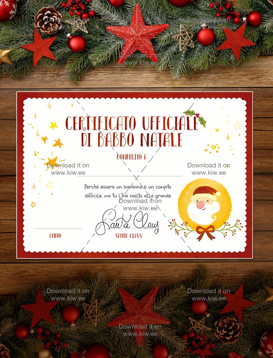 Sito Ufficiale Di Babbo Natale.Stampa Certificato Di Babbo Natale Kiwee