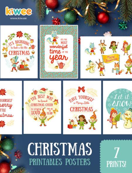 Christmas Posters.Set Of 7 Christmas Posters